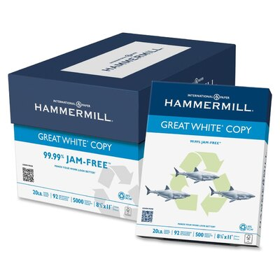 Hammermill Great White Recycled Copy Paper, 92 Bright, 20Lb, 200000 Sheets/Plt