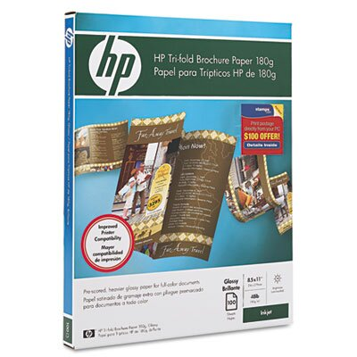 HP Inkjet Tri-Fold Brochure Paper, Letter, Bright White Gloss, 100 per Pack                                                     