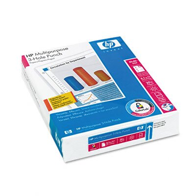 HP Copy/Laser/Inkjet 3-Hole Paper, 96 Brightness, 20lb, Letter, White, 500 Sheets