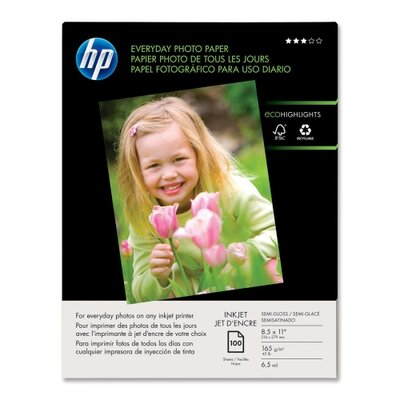 "HP Everyday Glossy Photo Paper, Glossl, 8-1/2""x11"", 53lb, 100/PK, White"