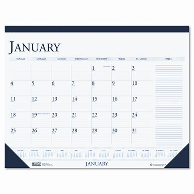 House of Doolittle Two-Color Monthly Desk Pad Calendar with Large Notes Section, 22 x 17, 2014