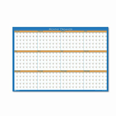 House of Doolittle 12-Month Laminated Wall Planner 3' x 2' White Board
