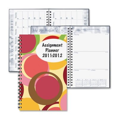 """House of Doolittle Circles Dsgn Stdnt Wkly Assignment Book, 13 Mos, 5""""x8"""", Color Circles/Multi, 2013"""