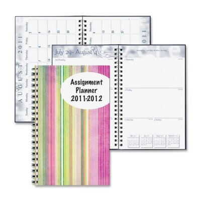 House of Doolittle Stripes Design Weekly Assignment Planner, 13 Mos, 5&quot;x8&quot;, Color Stripes/Multi, 2013