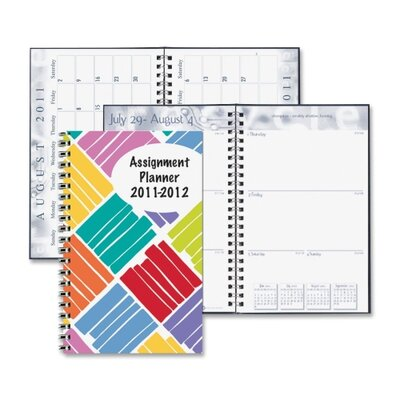 "House of Doolittle Box Design Weekly Assignment Planner, 13 Mos, 5""x8"", Boxes/Multi, 2013"