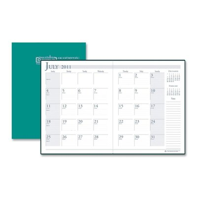 "House of Doolittle Academic Stitched Cover Monthly Planners, 14 Mos, 7'X10"", Green, 2013"