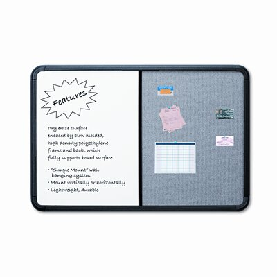 "Iceberg Enterprises 36"" Combo Dry Erase/Fabric Board with Blow Mold Frame"