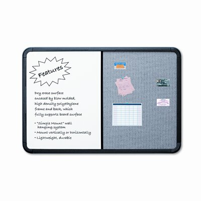 "Iceberg Enterprises 48"" Combo Dry Erase/Fabric Board with Blow Mold Frame"