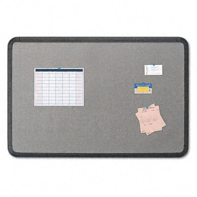 Iceberg Enterprises Fabric Bulletin Board, 48 x 36, Gray with Black Polyethylene Frame