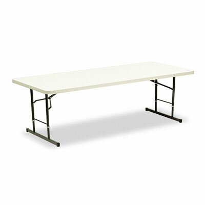 Iceberg Enterprises Adjustable-Height Folding Table, 96w x 30d x 25 - 29h, Platinum