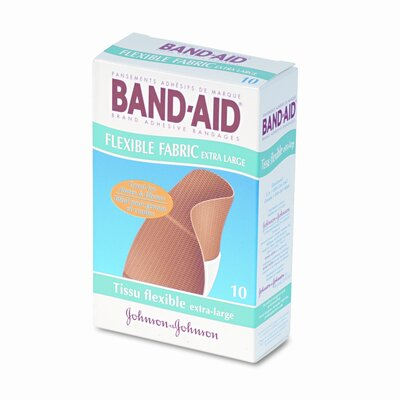 Johnson & Johnson Flexible Fabric Extra Large Adhesive Bandages, 1-1/4 x 4, 10 per Box