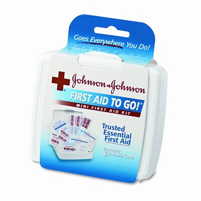 Johnson &amp; Johnson Mini First Aid To Go Kit, 12 Pieces, Plastic Case                                                                            