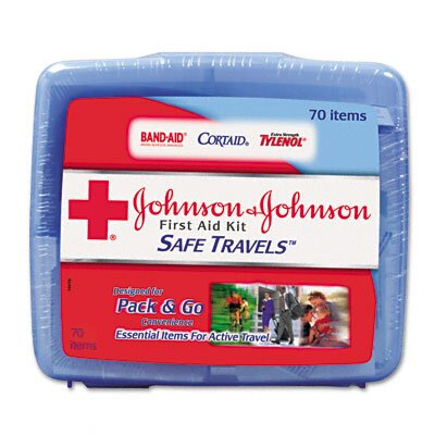 Johnson & Johnson Portable Travel First Aid Kit, 70 Pieces, Plastic Case