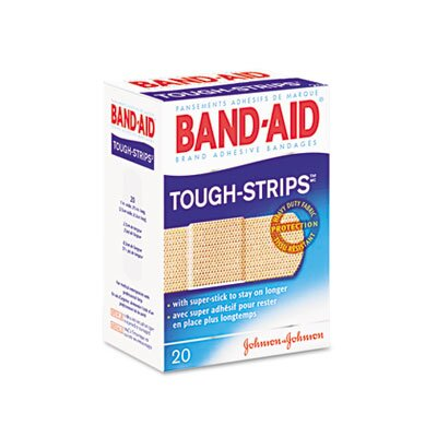 Johnson & Johnson Flexible Fabric Adhesive Tough Strip Bandages, 1 x 3-1/4, 20 per Box