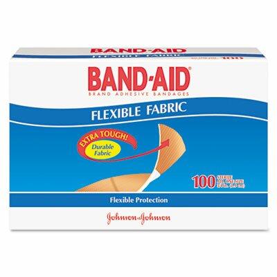 Johnson & Johnson Band-Aid Flexible Fabric Premium Adhesive Bandages, 100/Box