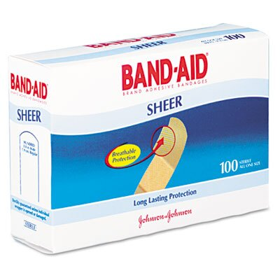 Johnson & Johnson Band-Aid Sheer Adhesive Bandage, 100/Box
