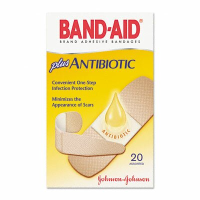 Johnson & Johnson Antibiotic Adhesive Bandages, Assorted Sizes, 20 per Box