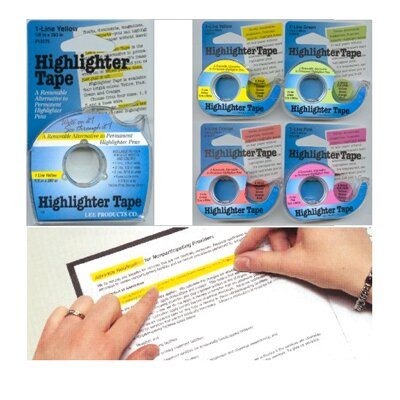 Lee Products Company Removable Highlighter Tape 1 Roll