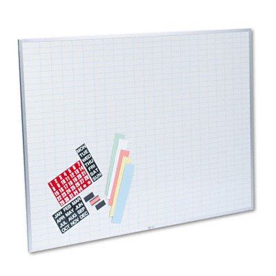 MAGNA VISUAL, INC.                                 Magnetic Work/Plan Kit, 1 x 2 Grid, Porcelain-on-Steel, 48 x 36, Blue/White