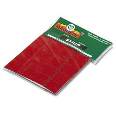 Magna Visual, Inc. Magnetic Write-On/Wipe-Off Pre-Cut Strips, 2 x 7/8, Red, 25 per Pack