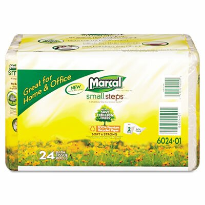 Marcal Paper Mills, Inc. Small Steps 100% Recycled Convenience Bundle Bathroom Tissue Roll, 24 Rolls/Carton