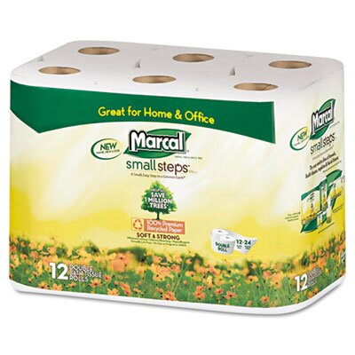 Marcal Paper Mills, Inc. Small Steps 100% Recycled Double Roll Bathroom Tissue, 12 Rolls/Pack