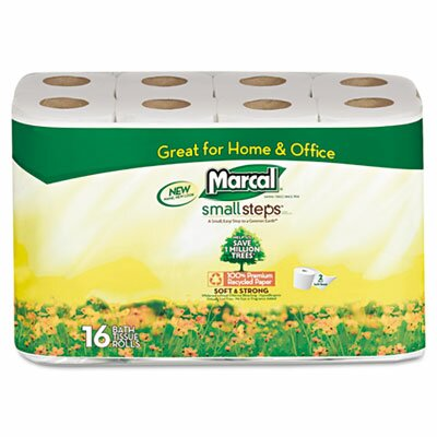 Marcal Paper Mills, Inc. Small Steps 100% Premium Recycled 2-Ply Toilet Tissue, 16 Rolls/Carton