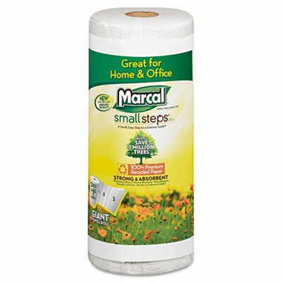 Marcal Paper Mills, Inc. Small Steps 100% Premium Recycled Roll Towels Roll Out Case, 140 Sheets/Rl