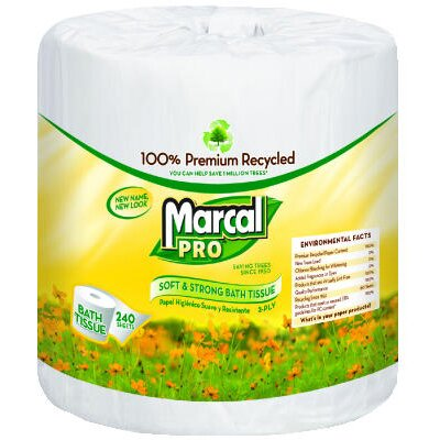 Marcal Paper Mills, Inc. 100% Premium Recycled Bath Tissues in White