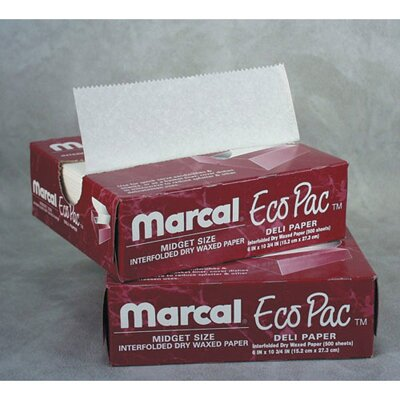 "Marcal Paper Mills, Inc. 12"" Eco-Pac Natural Interfolded Dry Waxed Paper Sheets in White"