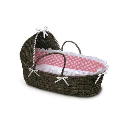 Badger Basket Hooded Moses Basket with Polka Dot Bedding