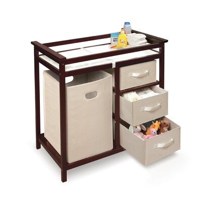 Modern Baby Change Table with 3 Baskets and Hamper