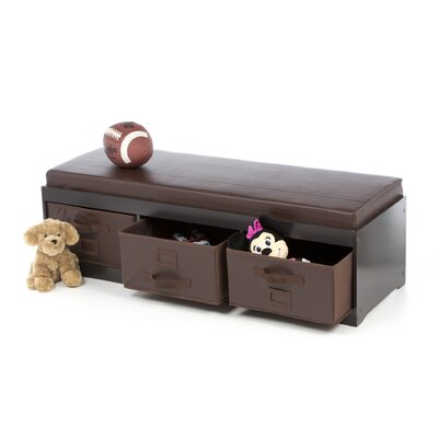 Badger Basket Kid's Storage Bench with Cushion and Three Bins