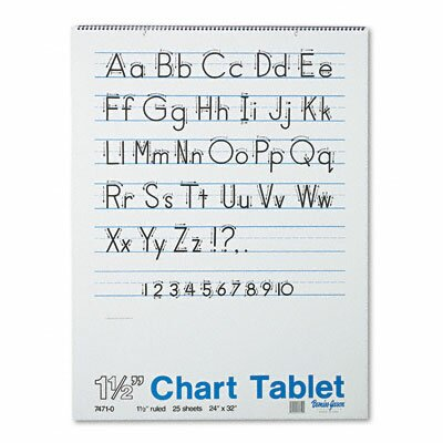 Pacon Corporation Chart Tablets w/Manuscript Cover, Ruled, White, 25 Sheets/Pad, 24 x 32