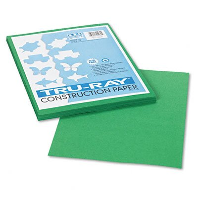 Pacon Corporation Tru-Ray Construction Paper, Sulphite, 9 x 12, Holiday Green, 50 Sheets