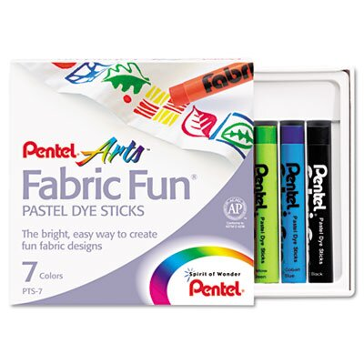 Pentel of America, Ltd. Fabric Pastel Dye Sticks, Assorted, 7 Per Set