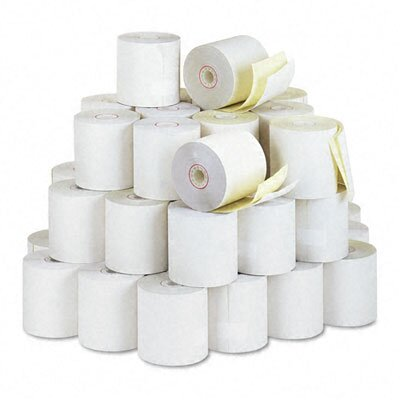 "PM Company 2-Ply Cash Register/POS Receipt Rolls, 3""w, 90'l, White/Canary, 50/ctn"