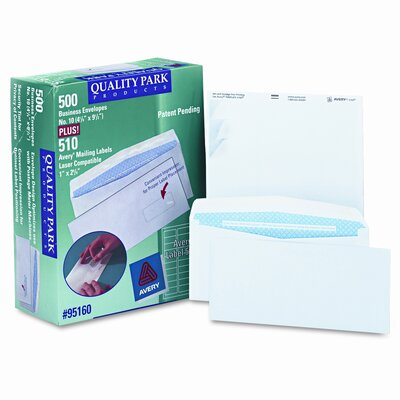 Quality Park Products Security Tinted Envelope with Label Impressions, Contemporary, #10, 500/box