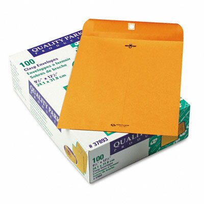Quality Park Products Clasp Envelope, 9 1/2 x 12 1/2, 28lb, Light Brown, 100/box