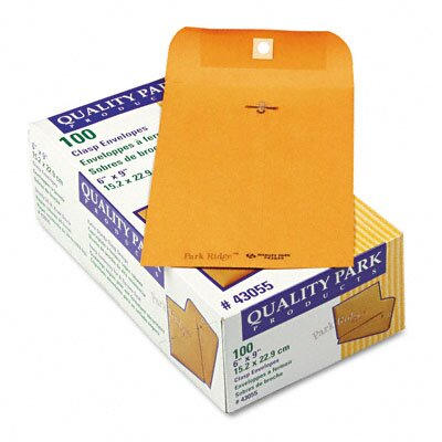 Quality Park Products Park Ridge Kraft Clasp Envelope, 6 x 9, Light Brown, 100/box