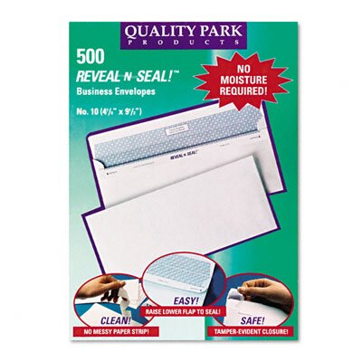 Quality Park Products Reveal-N-Seal Business Envelope, Contemporary, #10, White, 500/box