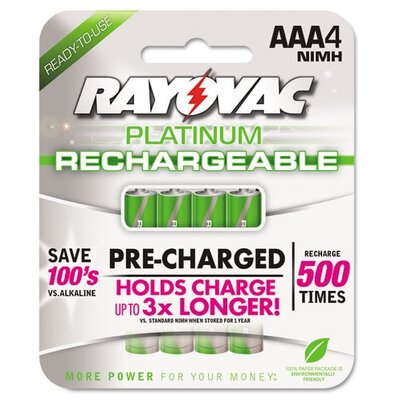Rayovac® Platinum Rechargeable AAA NiMH Battery, 4/Pack