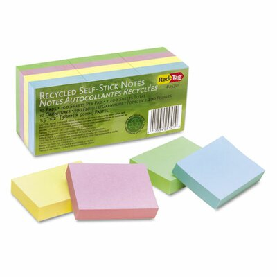 Redi-Tag Corporation 100% Recycled Note, 12 100-Sheet Pads/Pack