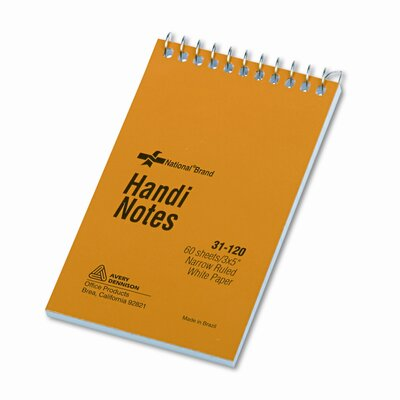Rediform Office Products Wirebound Memo Book, Narrow Rule, 3 x 5, White, 60 Sheets/pad
