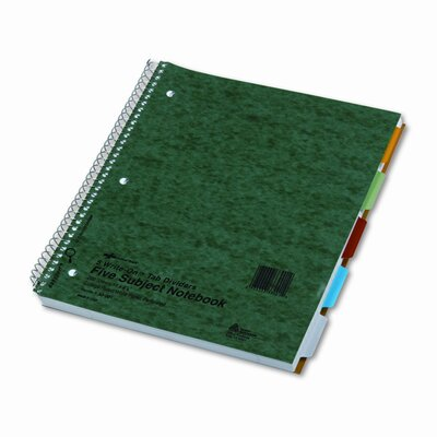 Rediform Office Products 5-Subject Wire Notebook, College Rule, 8-7/8 x 11, White, 200 Sheets
