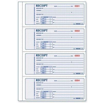 "Rediform Office Products Rent Receipts Book,Carbonless,3 Part,2-3/4""x7"",100 Count"
