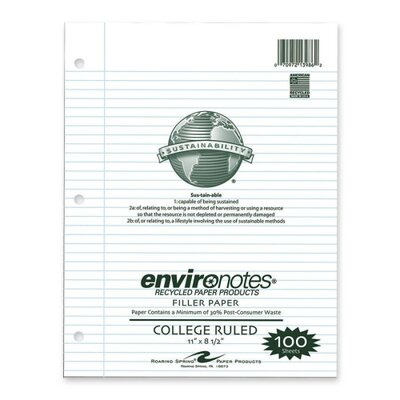 "Roaring Spring Paper Products Filler Paper, College Ruled, 100 Sheets, 11""x8-1/2"", White"