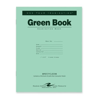 "Roaring Spring Paper Products Exam Book, Wide Ruled, 8/Sheets, 11""x8-1/2"", Green"