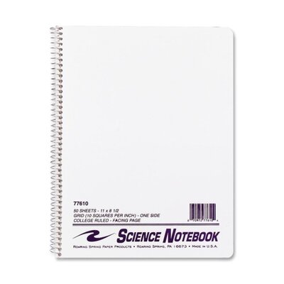 "Roaring Spring Paper Products Science Notebook, Wirebound, 11""x8-1/2"", 50 Sheets"