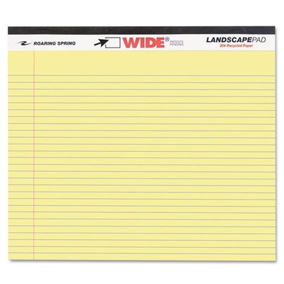 Roaring Spring Paper Products Landscape Format Writing Pad, College Ruled, 11 X 9-1/2, 40 Sheets/Pad